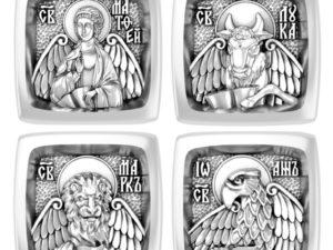 """Православная серебряная Бусина """"Евангелисты"""""""