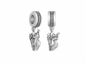 Православная серебряная Бусина  Трубящий Ангел