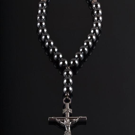 Православные четки на 30 бусин. Гематит с серебряными вставками