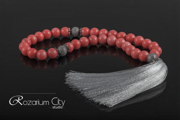 мусульманские четки из розового коралла