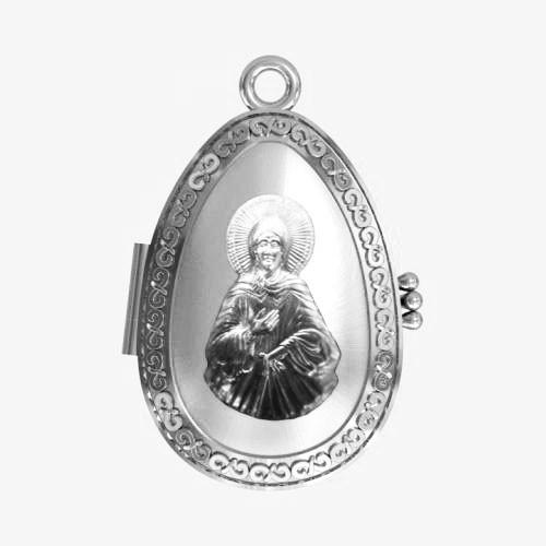 Мощевик серебряный Святая блаженная Ксения Петербургская ЛМ-33