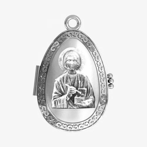 Мощевик серебряный Святой великомученик и целитель Пантелеймон ЛМ-31