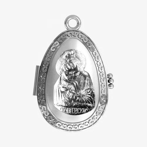 Мощевик серебряный Почаевская икона Божией Матери ЛМ-30