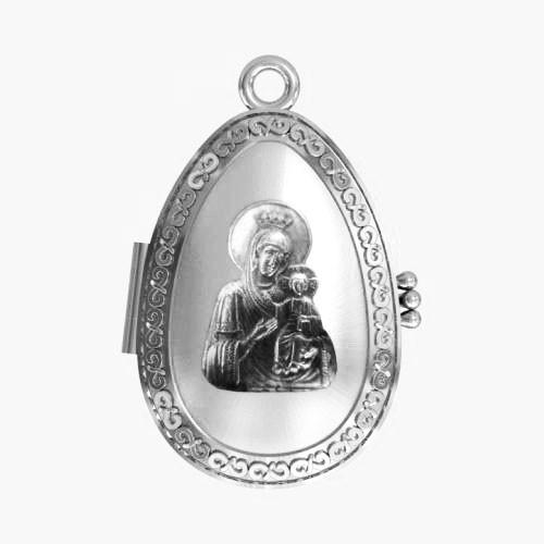 Мощевик серебряный Иверская икона Божией Матери ЛМ-28