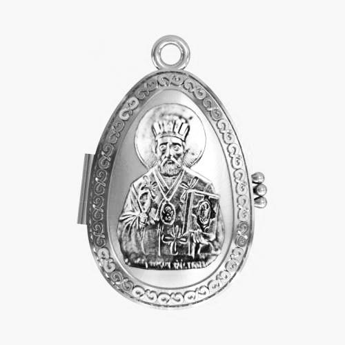 Мощевик серебряный Святитель Николай Чудотворец ЛМ-27