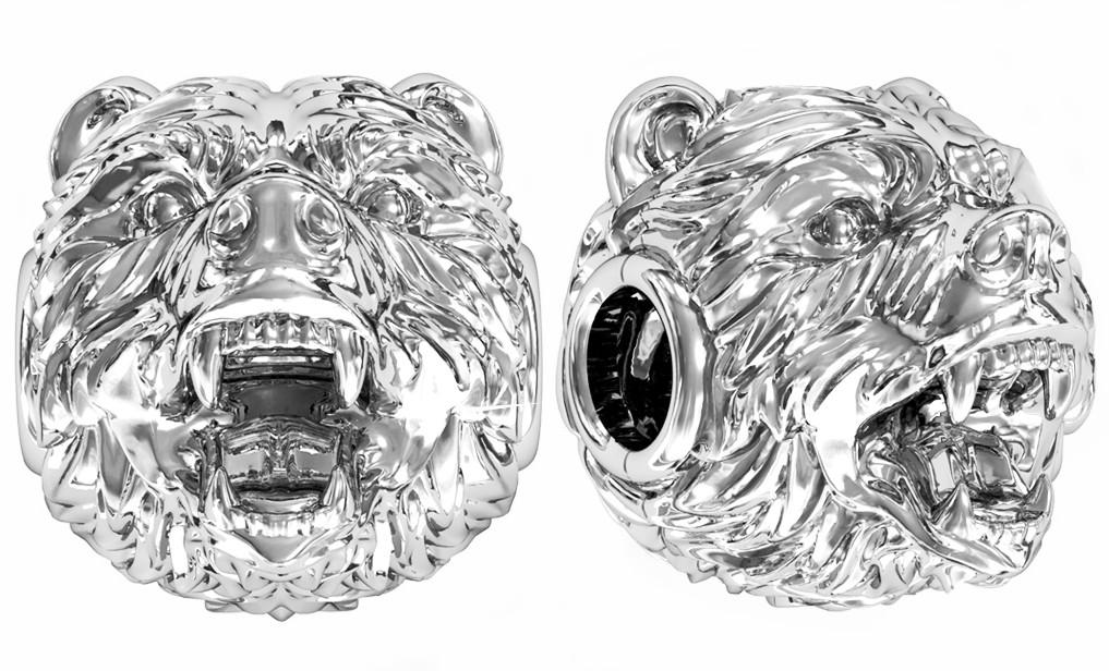 Бусина серебряная Шарм Медведь