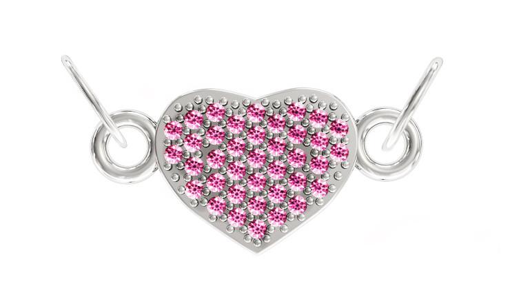 Подвеска - кулон серебряная Рубиновое сердце  411 840