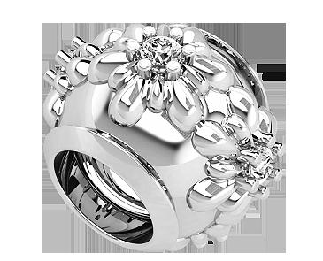 Бусина серебряная Шарм Цветы с камнями
