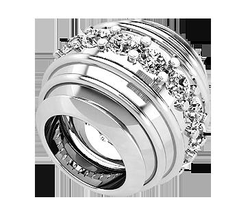 Бусина серебряная Шарм Бриллиантовая полоса