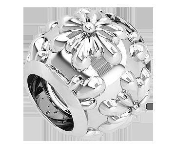 Бусина серебряная Шарм Цветок