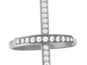 Кольцо серебряное Крест