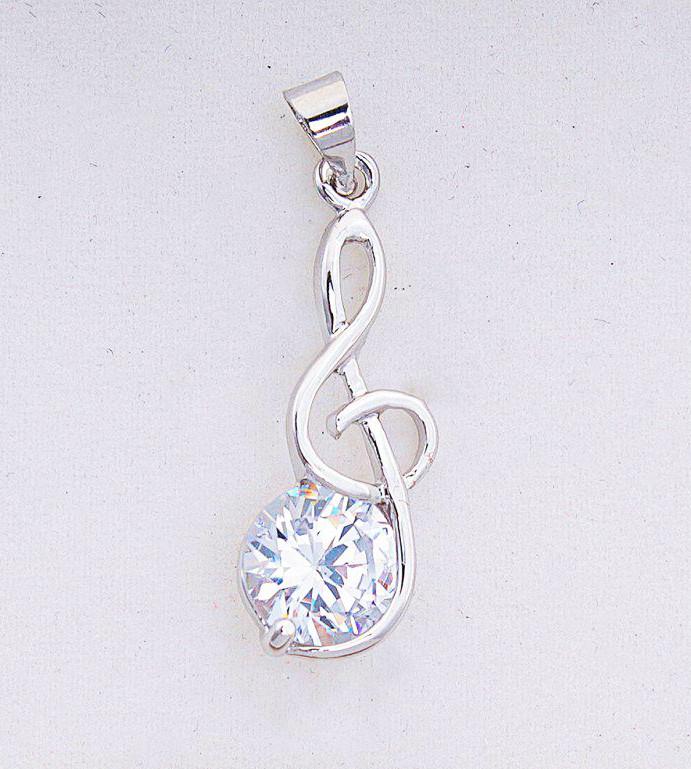 Подвеска серебряная Скрипичный Ключ Нота с камнем ПС 46