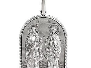 Ладанка серебряная Святые Косма и Дамиан 410050