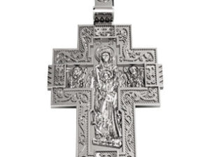 """Крест серебряный """"Богоматерь и святые"""""""