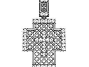 Крест шикарный серебряный Сетка в Камнях