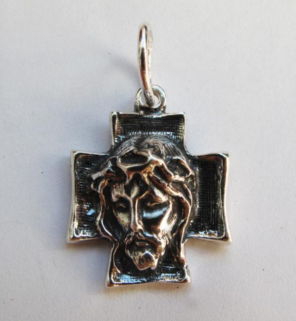 Крест серебряный лик Иисуса Христа