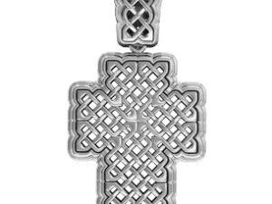 Крест серебряный Переплетения без камней