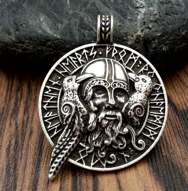 Кулон серебряный Викинг с Воронами и Защитными Рунами