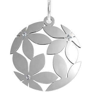 Подвеска серебряная Цветы в камнях 111047