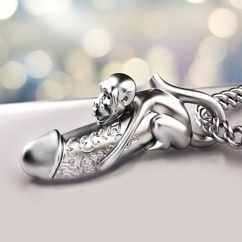 Тайский серебряный амулет Плодородия Обезьяна с Фалоссом