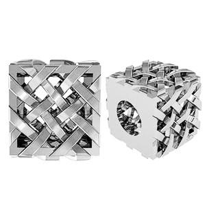 Бусина серебряная Шарм Кубик