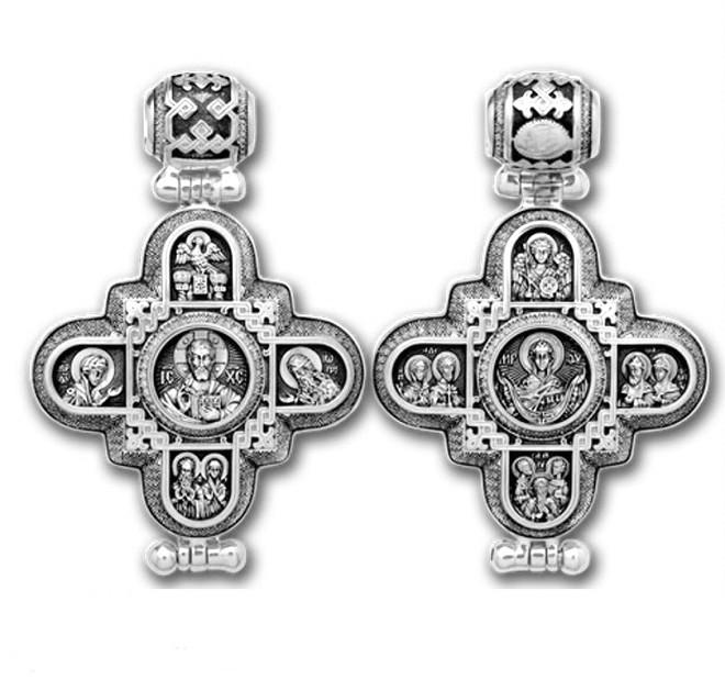 Мощевик серебряный Господь Вседержитель. Божия Матерь 104.007