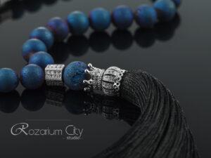 Православные четки на 30 бусин из синего агата с ювелирной фурнитурой
